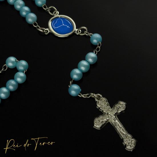 Terço Foto Personalizável Pérola Azul 5mm