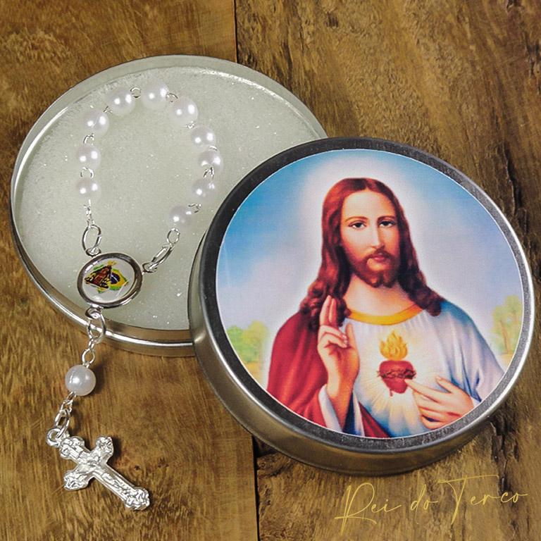 Mni Terço Personalizado como Nossa Senhora Aparecida mais a Latinha Pesonalizado com o Coração de Jesus